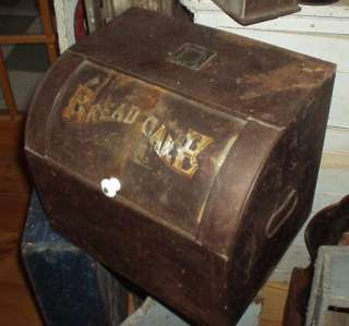ANTIQUE BREAD BOX SAYS BREAD AND CAKE SUPER OLD PAINT, LETTERING NR