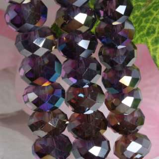 7x10mm Shiny Crystal Glass Faceted Rondelle Loose Beads