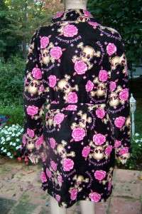 TIME SIZE S M BLACK PINK SKULLS & ROSES PLUSH SOFT FLEECE ROBE S M NWT
