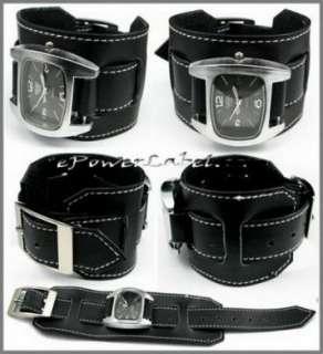 P188 Punk Steel Men/Women WATCH Black Leather Wristband