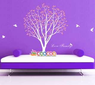 Sticker Mural Removable vinyl large tree birds love family 84