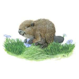 Carmen the Beaver and Blue Lilac Flower Wall Art