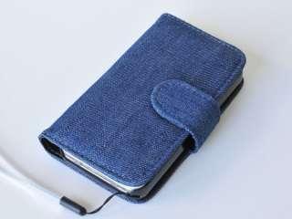 DENIM JEAN Wallet Flip Case Cover for Apple iphone 4 4G