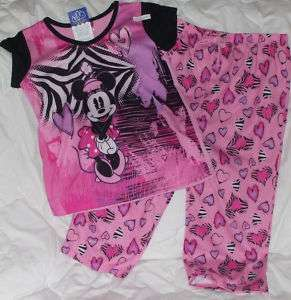 NWT 4 5 Disney Minnie Mouse Pajamas Shirt Capri Mickey