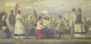 Original French Impressionist Oil Painting Figures on a Beach Signed c