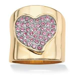 14k Gold Plated Free Form Heart Shaped Pink Crystal Band Ring Jewelry