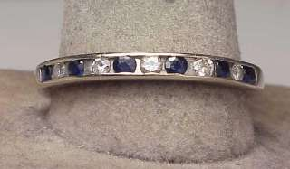 Large 14K White Gold Diamond Sapphire Band Ring