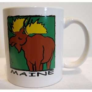 Coffee Cup Collectible Gift with Adorable Moose Artwork By Mary Ellis