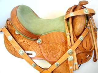 OIL LIME GREEN BARREL Western SHOW horse SADDLE closeout stock