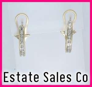14k Yellow Gold Round Diamond Hoop Dangle Earrings .60ct
