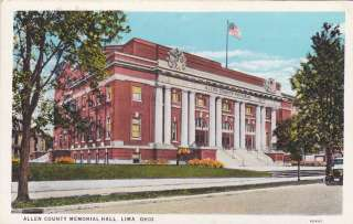 Allen County Memorial Hall LIma OHio Postcard