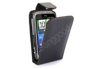 Black Flip Leather Case Cover for HTC Wildfire S G13