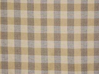 Blue Beige Nubby Linen Check Drapery Upholstery Fabric