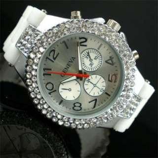 Fashion White Crystal Rhinestone Silicon Mens Lady Women Watch SALE