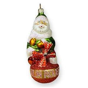 Glass Christmas Ornament, Moulin Rouge Santa, Exclusive