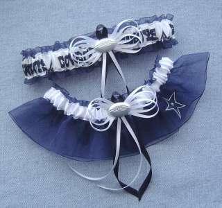 Dallas Cowboys Jewel Wedding Garter Set Blue w/Gift Box