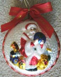WATERFORD SANTA CLAUS GLASS CHRISTMAS TREE HOLIDAY ORNAMENT
