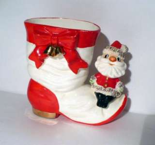 VINTAGE NOEL CHRISTMAS SPAGHETTI TRIM SANTA ON BOOT