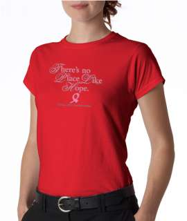 Theres No Place Like Hope Cancer Ladies Tee Shirt