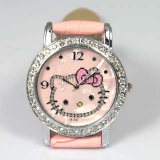 Fashion Crystal Hellokitty Girls Quartz Wrist Watch For Party Gift