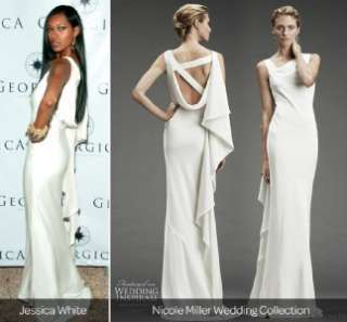 NICOLLE MILLER DRAPED BACK WITH BEADED STRAPS WEDDING GOWN DRESS SIZE