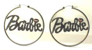 New Hematite Stone Barbie Nicki Minaj Hoop Earrings