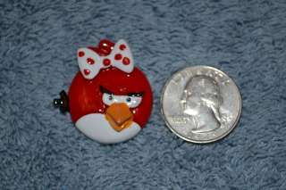 Red Girl Angry Birds Flatback Resin Hair Bow Scrapbooking Game