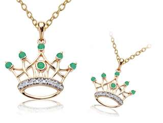 Natural Emerald & diamond Gold Crown Pendant & Chain