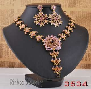 1set Purple rhinestone religious necklace earrings gold plated #30200