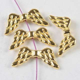 description 40pcs gold tone angel wing spacer beads h3976
