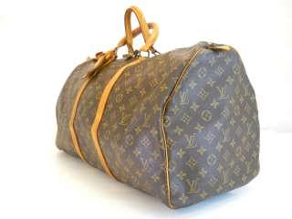 USED Louis Vuitton Monogram Duffle/Gym Bag Keepall55 AUTH Free
