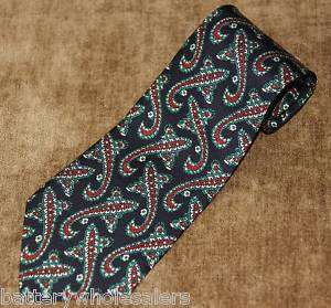 BARNEYS NY Blue w/ Green & Red & White Paisley Necktie