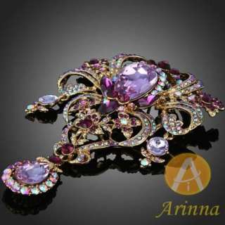 ARINNA amethyst stone petal shape graceful brooch pin gold GP