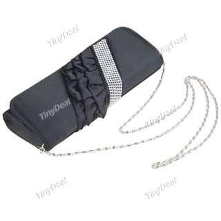 Rhinestones Pleated Satin Evening Party Handbag Clutch Bag NBG 55345