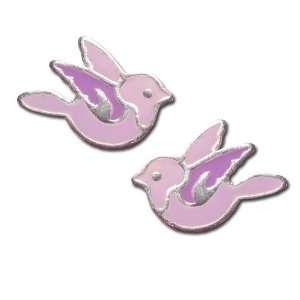 Tomas Sterling Silver Enamel Post Earrings   Graceful Bird Jewelry