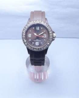 Rhinestone Crystal Rubber Gel Jelly Candy Unisex Quartz Wrist Watch 12