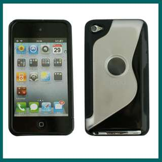 NEW TPU Hard Back Case Cover For iPod Touch 4 Gen 4th Black Free