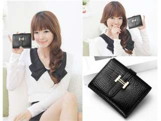 Fashion Girls Black Real Leather Purse Trifold Wallet Clutchs Money