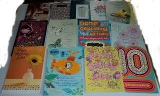 HALLMARK BIRTHDAY CARDS, LOT OF 25, NEW, ALL DIFFERENT, MOTHER, FATHER