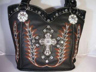 Black Rhinestone Cross Western Boot Stitched Cowgirl Handbag Shoulder