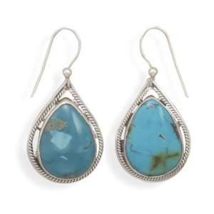 CleverSilvers Pear Shape Turquoise French Wire Earrings