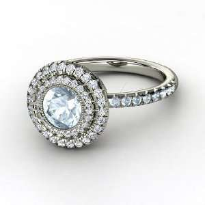 Natalie Ring, Round Aquamarine 14K White Gold Ring with