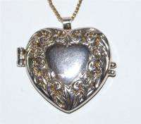 Vintage Silver Tone Embossed Heart Locket Necklace