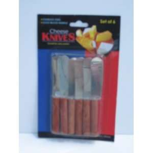 Set of 6 Wood Handle Cheese Knives