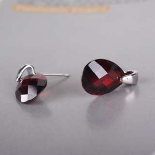 18k white gold filled swarovski crystal garnet diamond cut pear stud