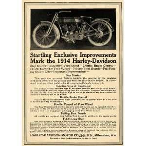 1913 Ad Harley Davidson 1914 Motorcycle Model Milwaukee