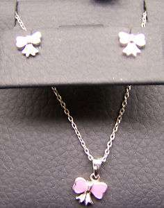 Silver 925 Necklace Earring Set Little Girl Pink Enamel Bows 16 Chain