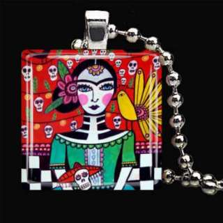 Day of the Dead Charm Necklace Jewelry Silver Glass Mexican Folk Art