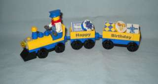 BIRTHDAY TRAIN CAKE TOPPER, ENGINEER MINIFIGURE,PRESENTS, GIFTS