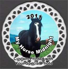 Horse Pony Custom Photo Christmas Ornament Porcelain Personalized